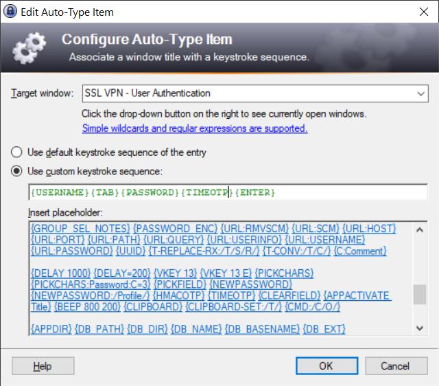 Keepass configure Auto-Type Item