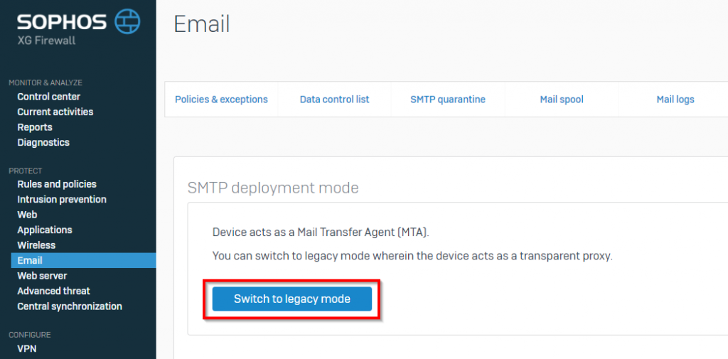 Change SMTP deployment mode to legacy