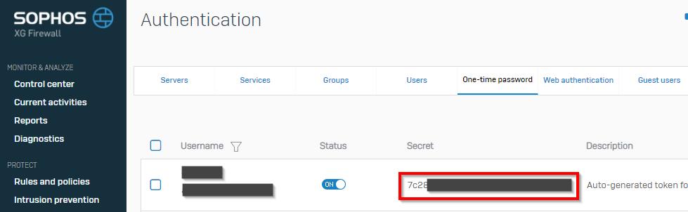 XG Firewall OTP secret