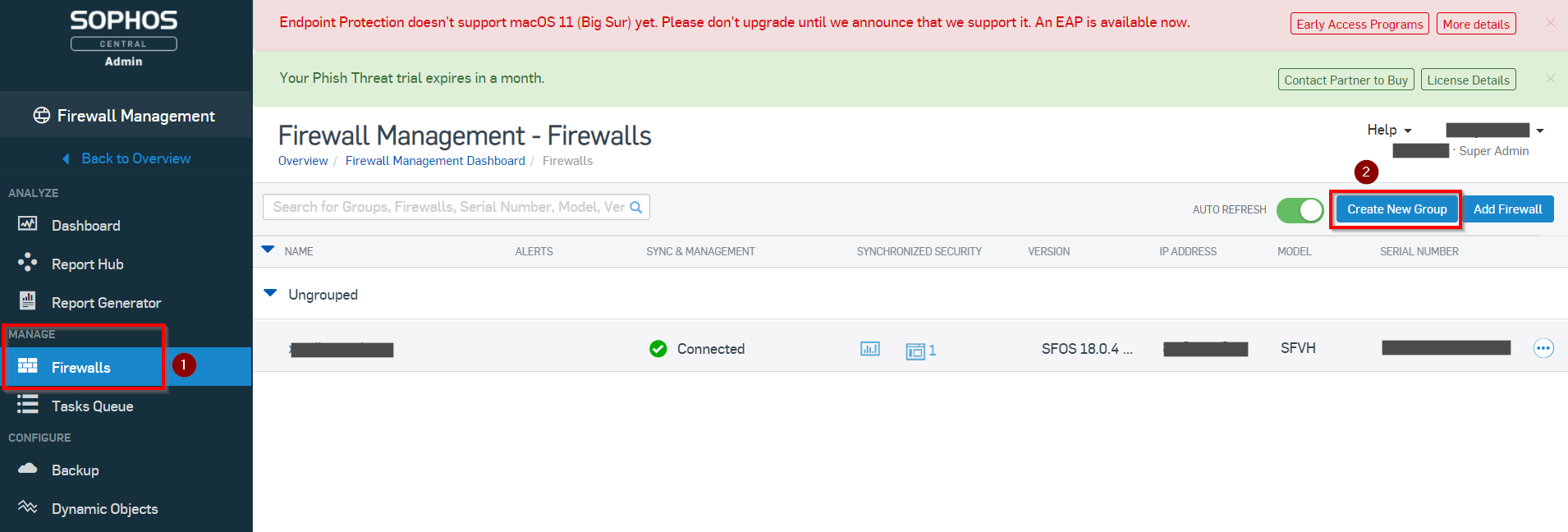 Create new firewall group