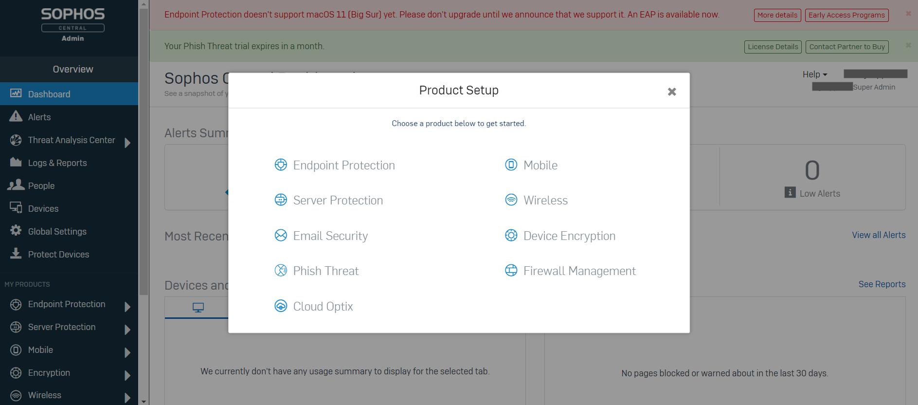 Sophos Central Product Setup